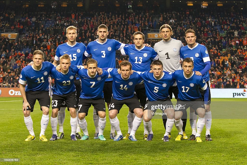 Ragnar Klavan of Estonia, Igor Morozov of Estonia, Martin Vunk of Estonia, goalkeeper Sergei Pareiko of Estonia, Andres Oper of Estonia Front Row L-R Henrik Ojamaa of Estonia, Taijo Teniste of Estonia, Sander Puri of Estonia, Konstantin Vassiljev of Estonia, Dmitri Kruglov of Estonia, Enar Jaager of Estonia during the FIFA 2014 World Cup qualifier match between the Netherlands and Estonia at the Amsterdam Arena on march 22, 2013 in Amsterdam, The Netherlands