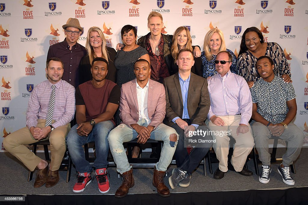Recording Artists TobyMac, Natalie Grant, Executive Director GMA Jackie Patillo, Recording Artists Chris Rademaker and Jodi King of Love & the Outcome, Karen Peck, Tasha Cobbs. Front row L/R: Recording Artists, Brandon Heath, KB, Jonathan McReynolds, Producer Wayne Haun, Recording Artists Gordon Mote and Flame during the 45th Annual GMA Dove Awards Nominations Press Conference at Allen Arena on Lipscomb University campus, August 13, 2014 in Nashville, Tennessee.