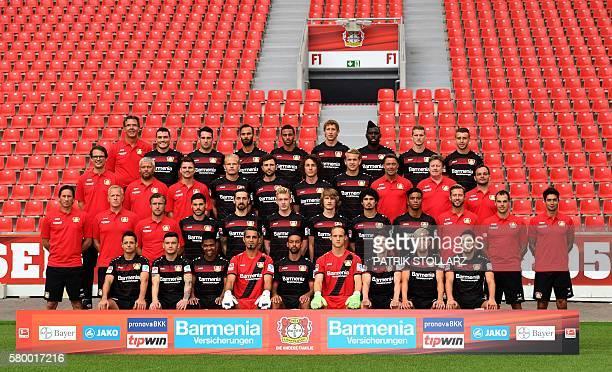 Back row medicin KarlHeinrich Dittmar Leverkusen's Greek defender Kyriakos Papadopoulos Leverkusen's Levin Oetztunali Leverkusen's Turkish defender...