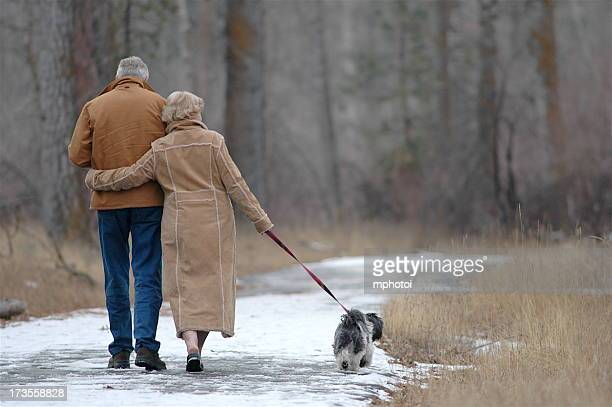 Back shot of a old couple walking together with their dog