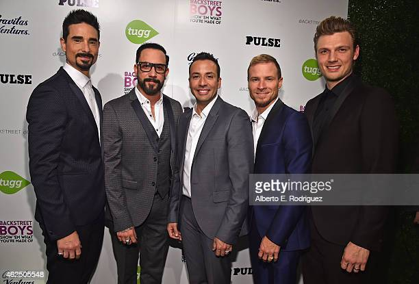 Back Street Boys members Kevin Richardson AJ McLean Howie Dorough Brian Littrell and Nick Carter attend the premiere of Gravitas Ventures'...