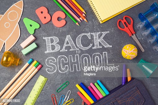 Back to school background with school supplies.View from above. Flat lay : Stock Photo