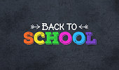 Back to School Colorful Text Over Blackboard Background, Widescreen