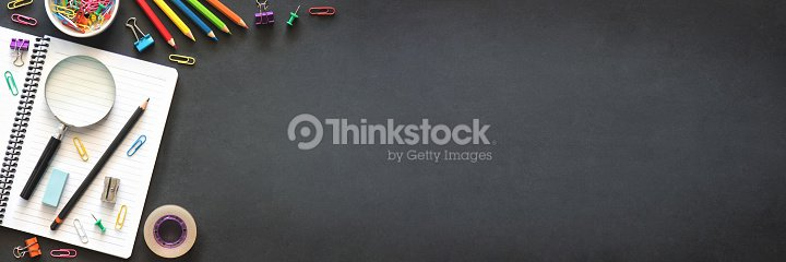 Back to School Concept with Stationery Supplies and Blackboard : Stock Photo