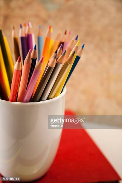 Back to school. Education.  Colorful sharpened pencils in a bunch.