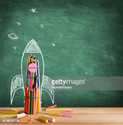 Back To School - Rocket Sketch On Blackboard : Stock Photo