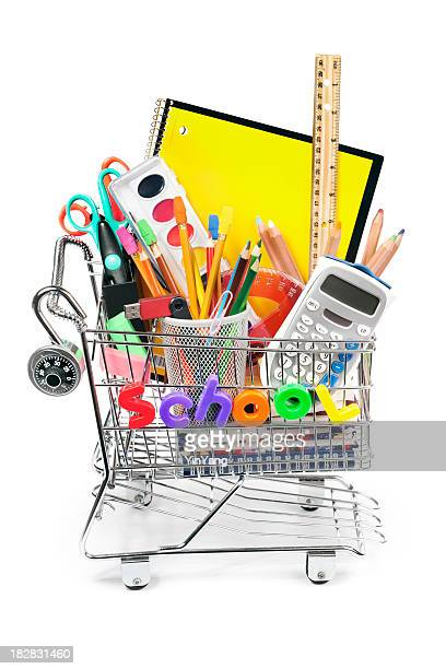 Back to School Shopping Cart with Supplies on White Background