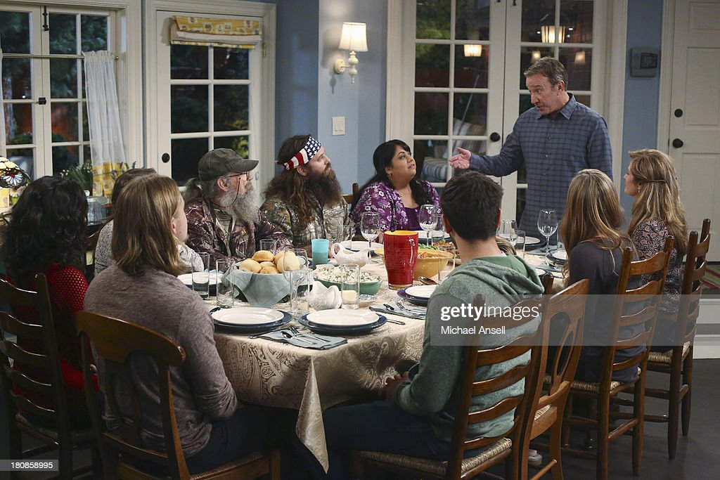 STANDING - 'Back to School' - Willie Robertson and his uncle, Si Robertson, two of the stars from the hit reality show A&E's 'Duck Dynasty,' will make their acting debut when they guest star in the Season Premiere of 'Last Man Standing,' FRIDAY, SEPTEMBER 20 (8:00-8:31 p.m., ET) on the ABC Television Network. In the episode, 'Back to School,' Mike finds that Mandy's steady boyfriend Kyle's new interest in philosophy is distracting him from his work at The Outdoor Man Store. A solution may be in the offing when camo-wearing and regular customers Brody (Willie Robertson) and Uncle Ray (Si Robertson) come to the sporting goods store to get outfitted for their annual moose hunting expedition. Meanwhile, Mike is skeptical about his grandson Boyd attending a bilingual school and wants Kristin and Ryan to switch Boyd to a school in his neighborhood. MOLLY EPHRAIM, CHRISTOPH SANDERS, KAITLYN DEVER (OBSCURED), SI