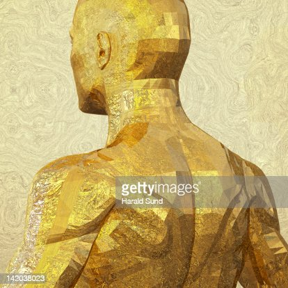 Back view - golden metallic human male upper body : Stock Photo