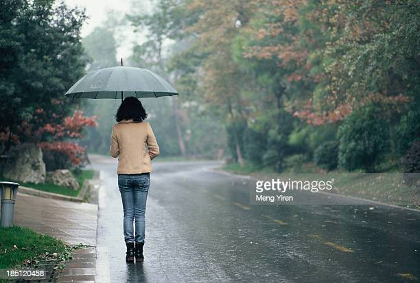 Back view of a girl on rainy day
