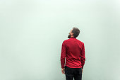 Back view of a sucess businessman, on gray background. Looking up and dreaming. Studio shot, gray background