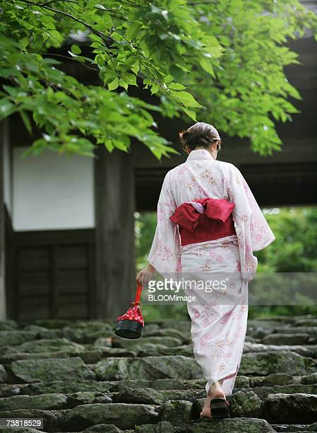 Back view of a woman wearing a kimono