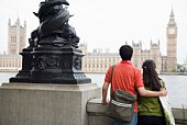 Back view of couple overlooking Big Ben, London, England