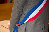 French mayor with a scarf flag during weeding day at city hall