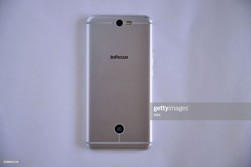 Back View of InFocus M812 Smartphone on October 22, 2015 in New Delhi, India.