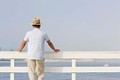 Back view of man on pier, Santa Cruz, California