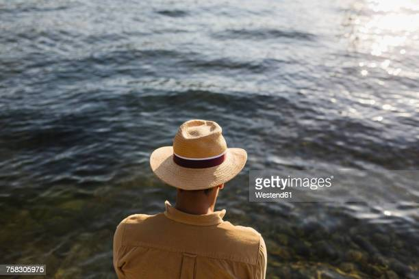Back view of man with straw hat looking at water