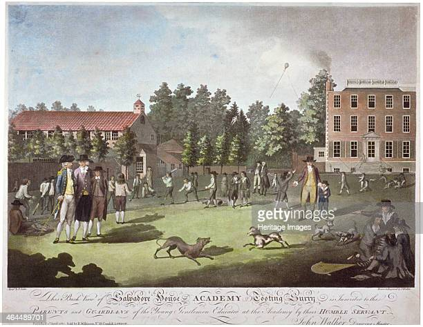 Back view of Salvadore House Academy Tooting Wandsworth London 1787 Scene showing parents or guardians with the boys of the academy involved in...