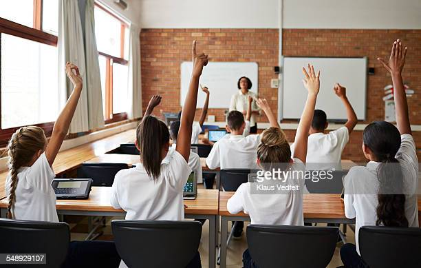Back view of schoolclass with raised hands