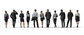 Back view of standing business people. Illustration on white background, 3d rendering isolated.