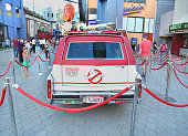 Back view of the 'Ghostbusters' Cadillac Fleetwood Station Wagon at AMC Universal City Walk on July 14 2016 in Universal City California