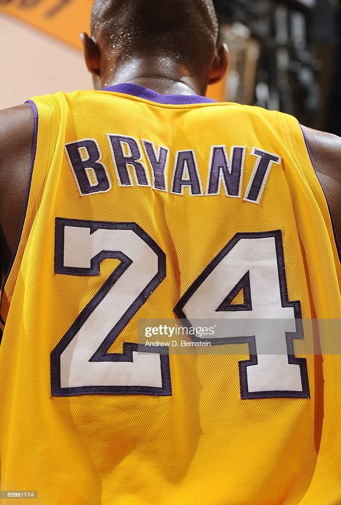 A back view of the jersey worn by <a gi-track='captionPersonalityLinkClicked' href=/galleries/search?phrase=Kobe+Bryant&family=editorial&specificpeople=201466 ng-click='$event.stopPropagation()'>Kobe Bryant</a> #24 of the Los Angeles Lakers during the game against the Houston Rockets on April 3, 2009 at Staples Center in Los Angeles, California. The Lakers won 93-81.