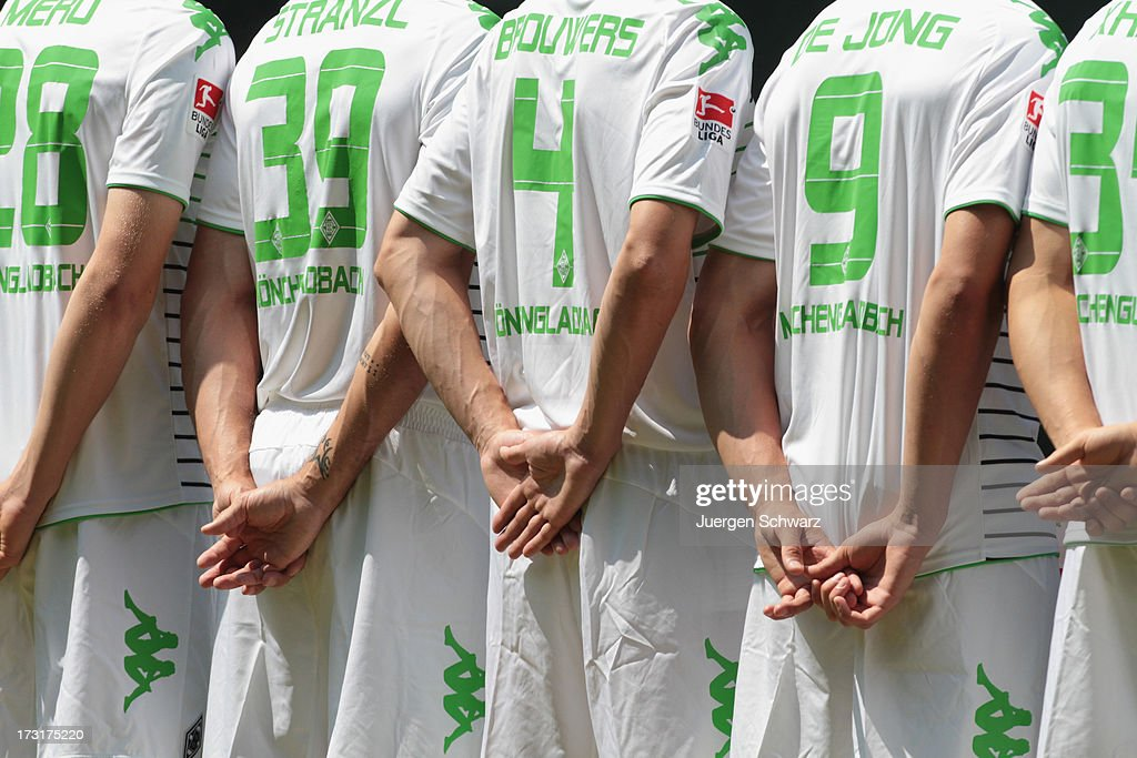 Back view of the Moenchengladbach team during the team presentation on July 9, 2013 in Moenchengladbach, Germany.