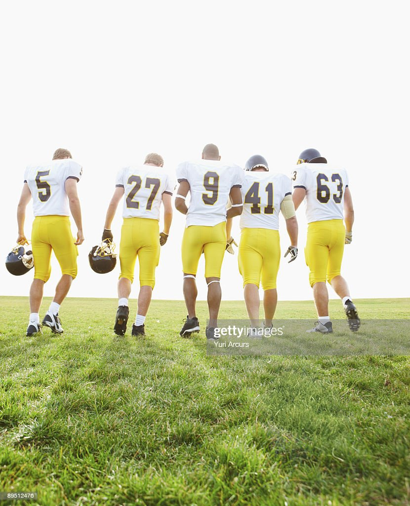 Back view portrait of rugby team : Stock Photo