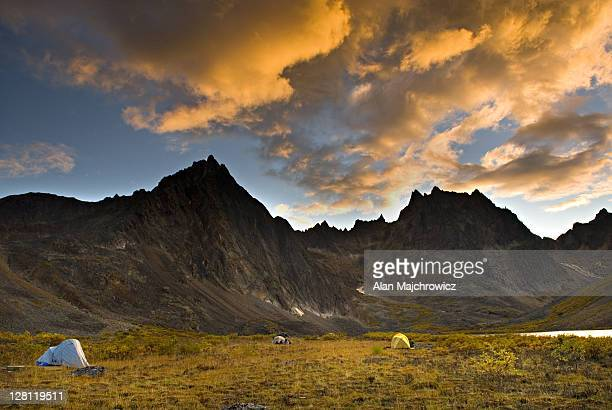 Backcountry camp at Grizzly Lake in dramatic evening light, Tombstone Territorial Park, Yukon, Canada