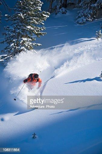 Backcountry Powder Skier Skis Steep Terrain