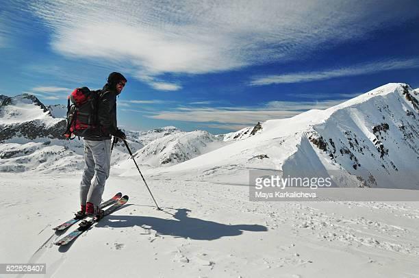 Backcountry skier in Pirin mountain, Bulgaria