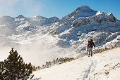 Backcountry skiers in a mountain, Europe, Bulgaria