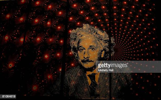 A backdrop of Albert Einstein at the Public Event in the Muizenberg Pavillion on May 12 2008 in Cape Town South Africa