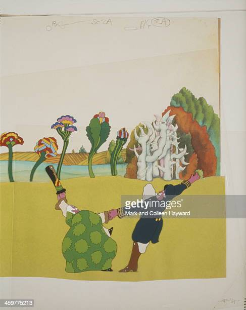 Background animation cell of a landscape featuring the character 'Old Fred' from the 1968 Beatles film 'Yellow Submarine'