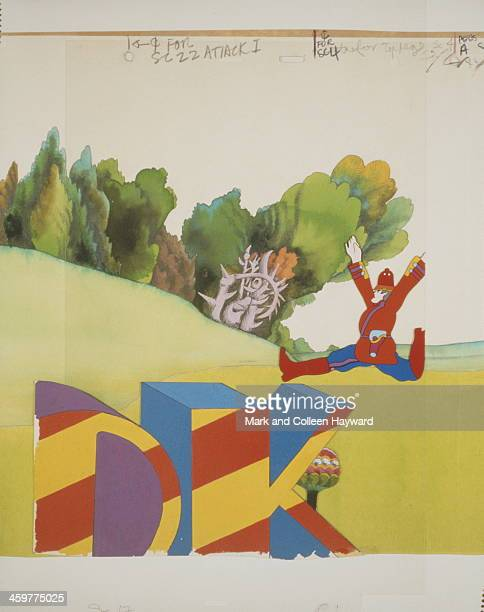 Background animation cell of a landscape with a brightly coloured policeman running from the 1968 Beatles film Yellow Submarine
