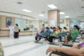 Background blur the number of patients waiting for treatment in hospital due to bad weather.
