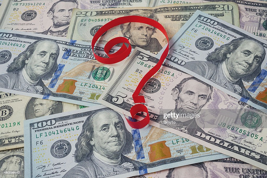 Background from dollars and question mark : Stock Photo