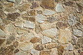 Background from the wall built from large natural stone. Natural texture, background
