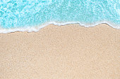 "Background image of Soft wave of blue ocean on sandy beach.  Ocean wave close up with copy space for text""n"