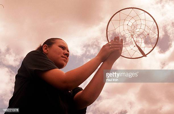 Chelsea Dowan pictured here with a dream catcher she made at Keeping the circle Strong Fresh Air Fund Camp paul irish/toronto star