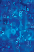"""Brightly colored blue background with numbers (original type) interacting with each other. Some numbers are slightly blurred, others are completely out of focus."""
