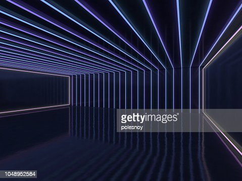 Background of an empty room with walls and neon light. Neon rays and glow. 3D : Stock Photo