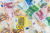 Seamless background made of euro banknotes - pile of money