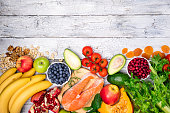 Background of healthy food for heart. Healthy food, diet and healthy life concept. Fresh fish, fruits, vegetables, berries and nuts. Top view, copy space