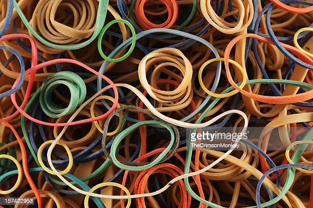 Background of many colored rubber bands