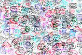 Background of passport stamps on white