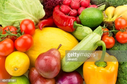 background of ripe fruit and vegetables : Stock Photo