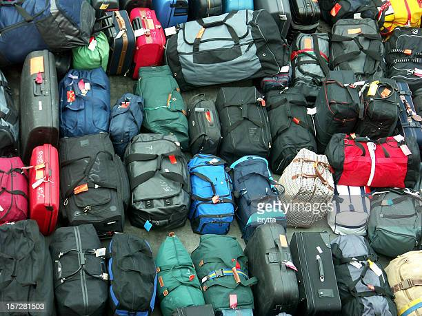 Background of suitcases, travel bags in different shape and color