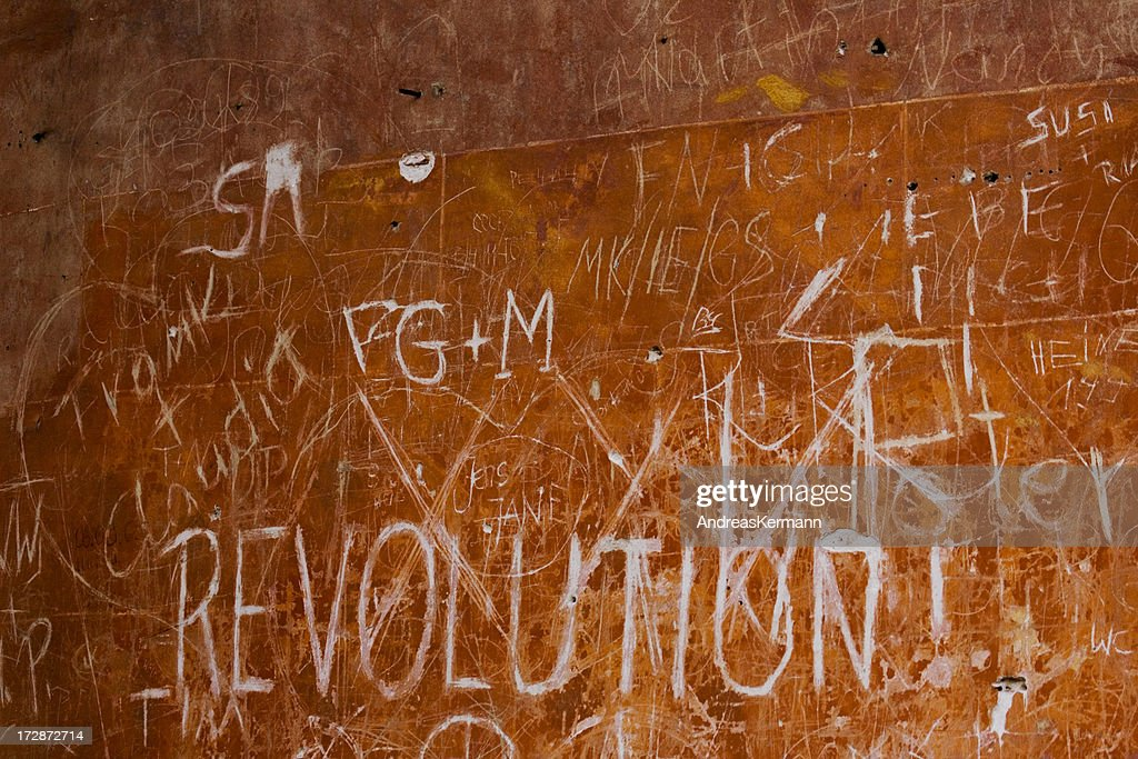 'background, revolution - sign at the wall'