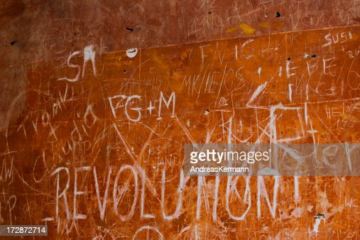 background, revolution - sign at the wall
